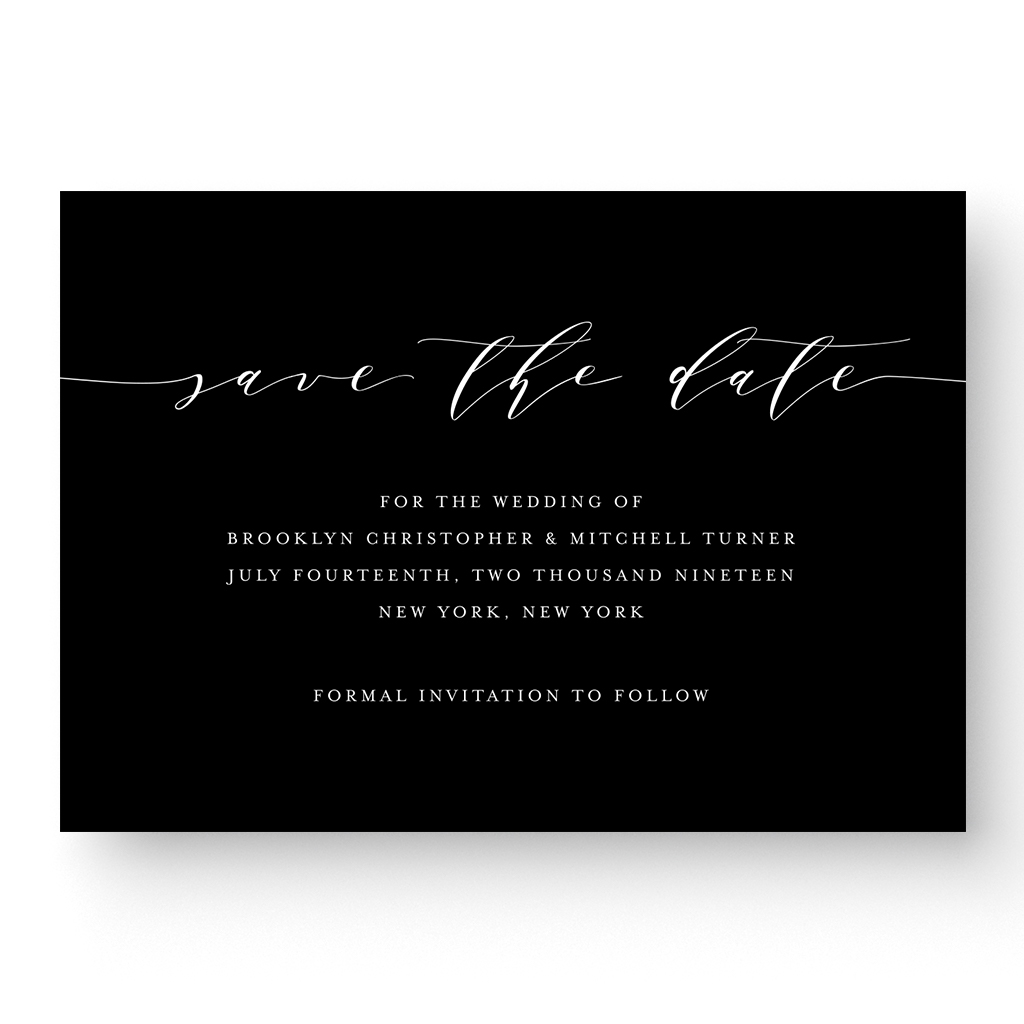 White Ink Calligraphy Save the Date Card Black and White