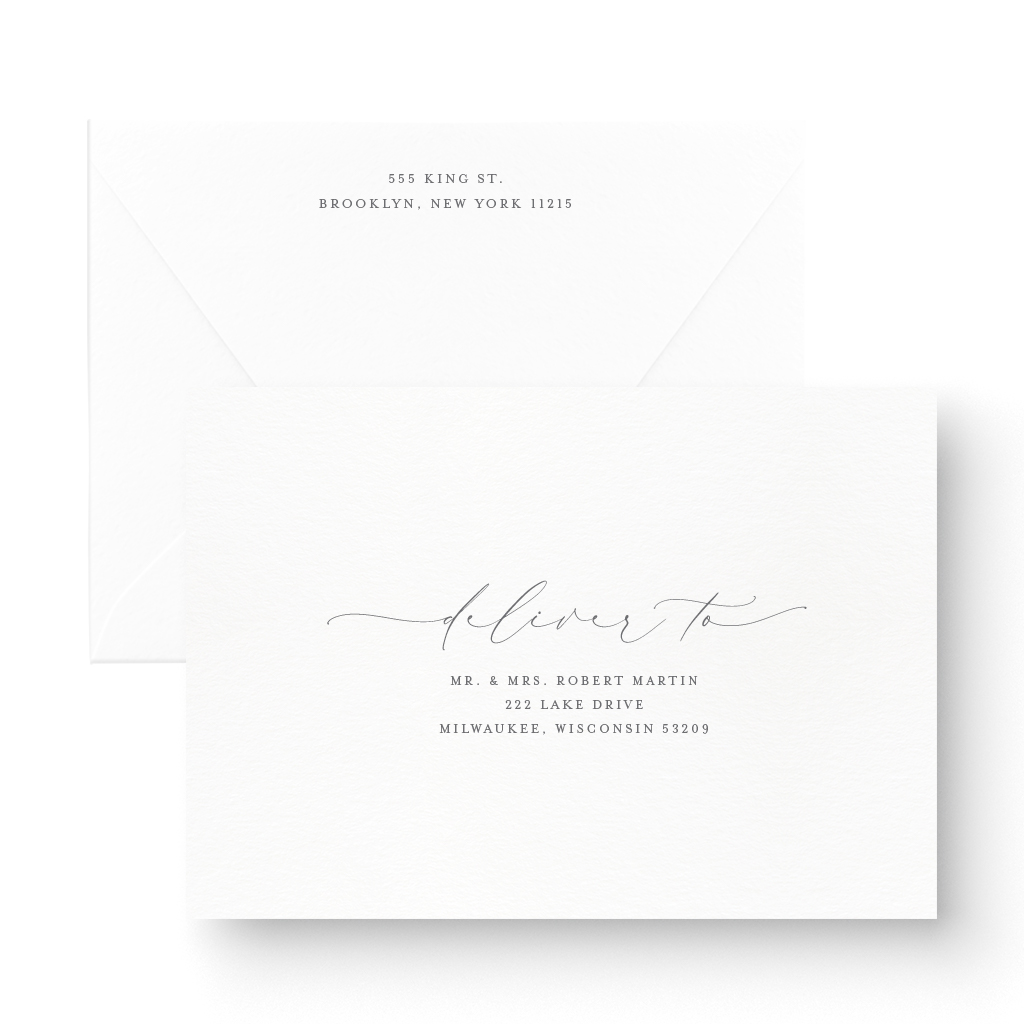 elegant letterpress save the date with calligraphy