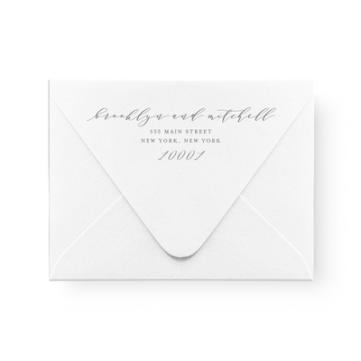 Gold Foil Calligraphy Save the Date Card return address printing