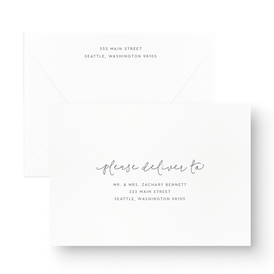 Boho White Ink Save the Date Card with printed envelopes