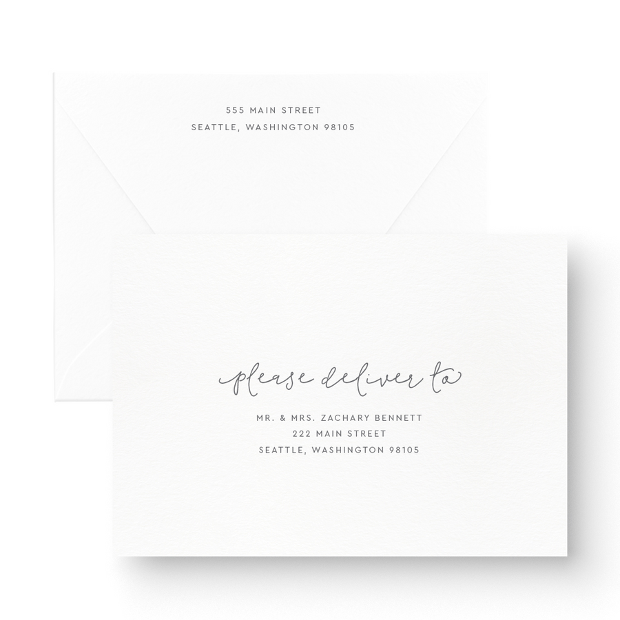 Jasmine White Ink Wedding Invitation