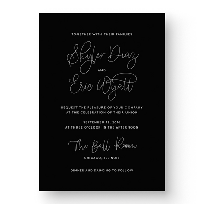 Skyler White Ink Wedding Invitation