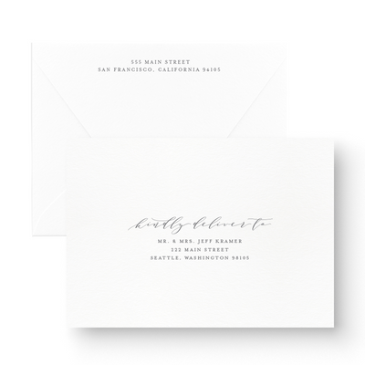 White Ink Calligraphy Save the Date Card printed envelope addresses