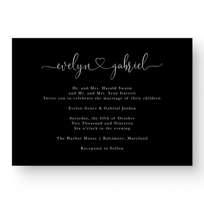 Evelyn White Ink Wedding Invitation