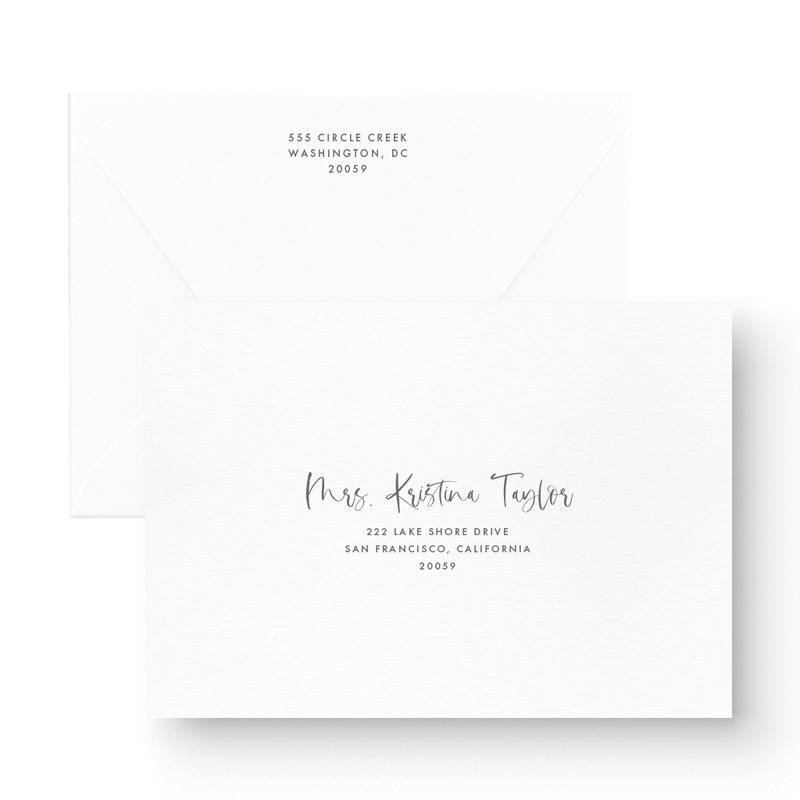 Mia White Ink Wedding Invitation
