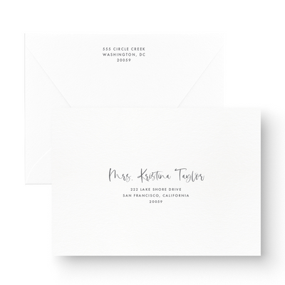 Black and White Hand Lettered Calligraphy Save the Date with envelope
