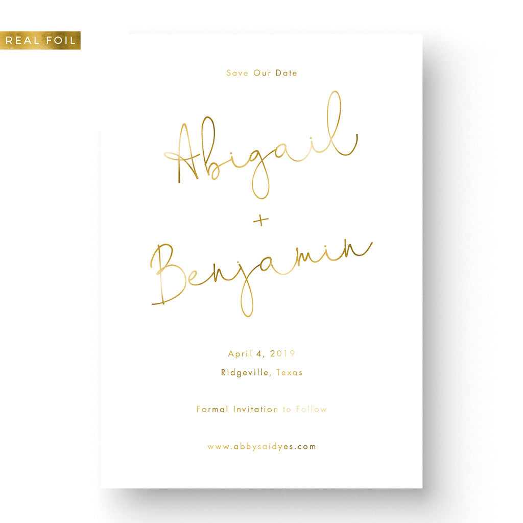 Romantic Foil Save the Date Card gold foil on white card with script