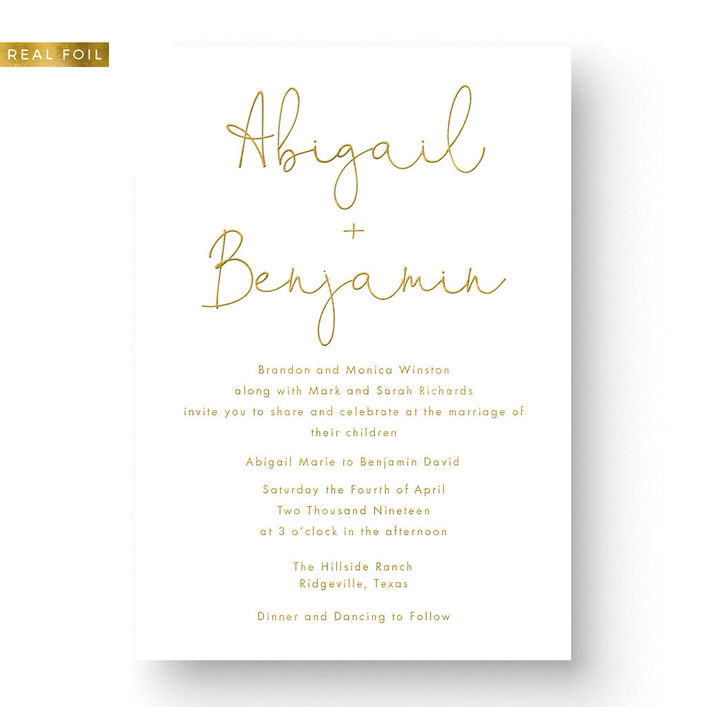 custom foil wedding invitation romantic classic gold