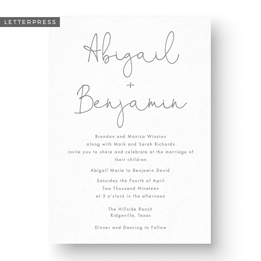 Abigail Letterpress Wedding Invitation