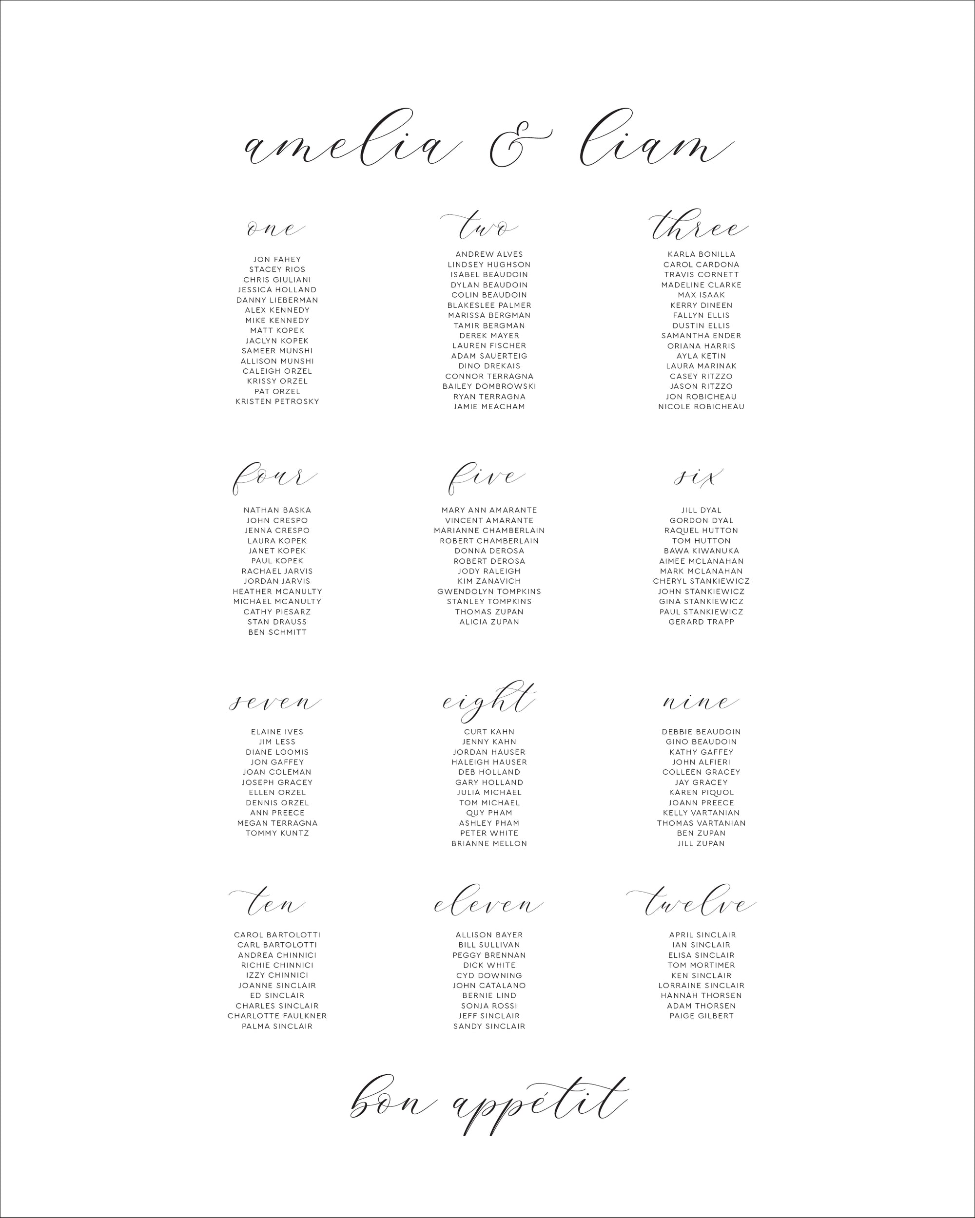 Wedding Reception Seating Chart | The Amelia