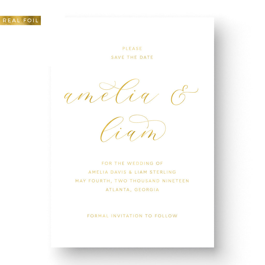 Elegant Foil Stamped Save the Date Card gold foil calligraphy on white