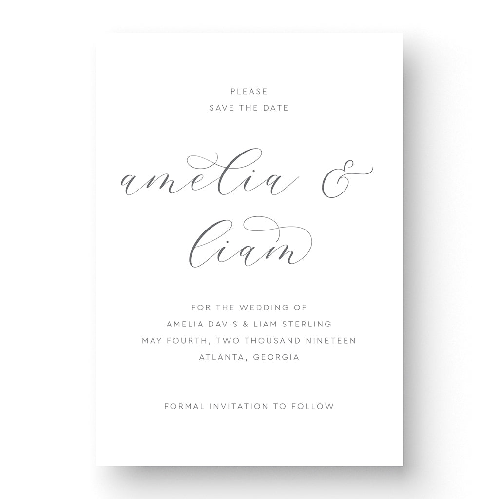 elegant save the date card with calligraphy