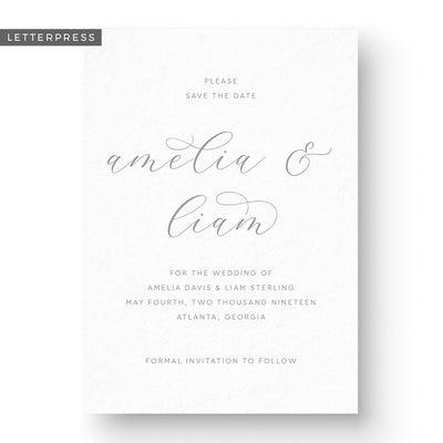 Elegant Letterpress Save the Date Card traditional calligraphy