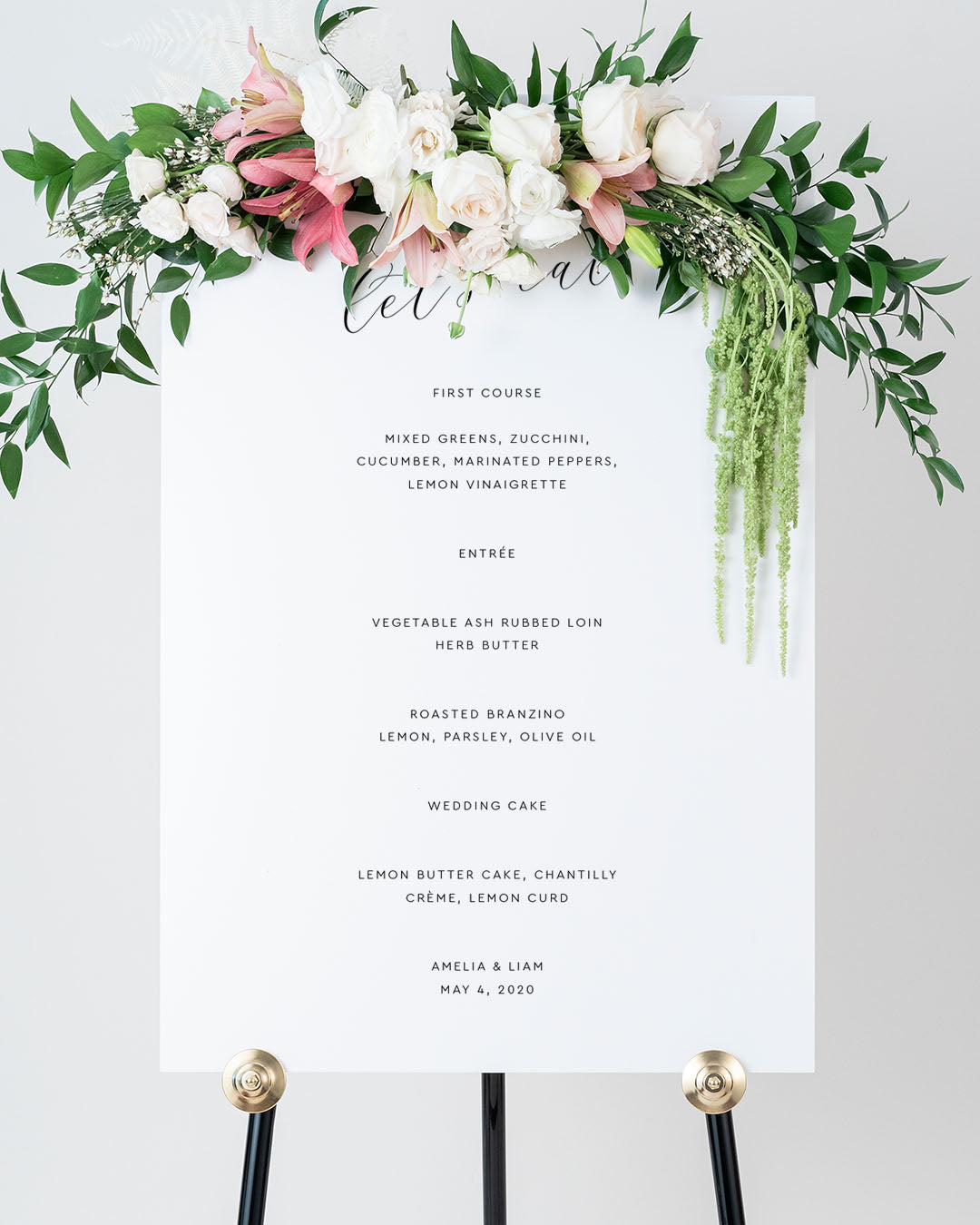 Elegant Wedding Menu Board | The Amelia