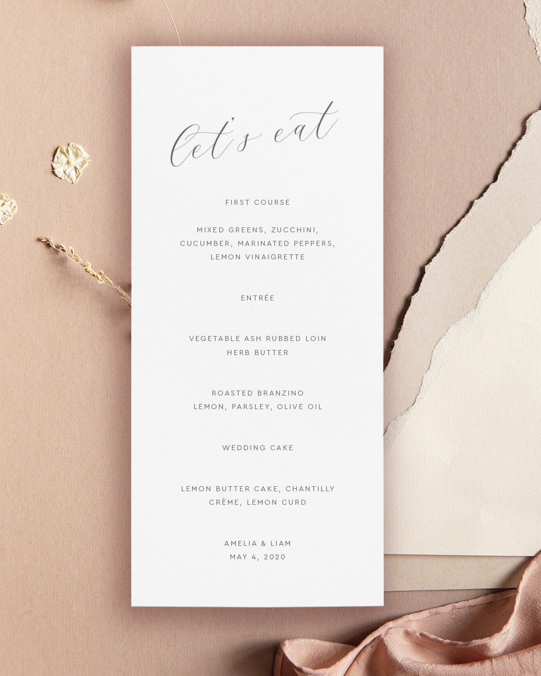 Minimalist Wedding Menu Card | The Amelia