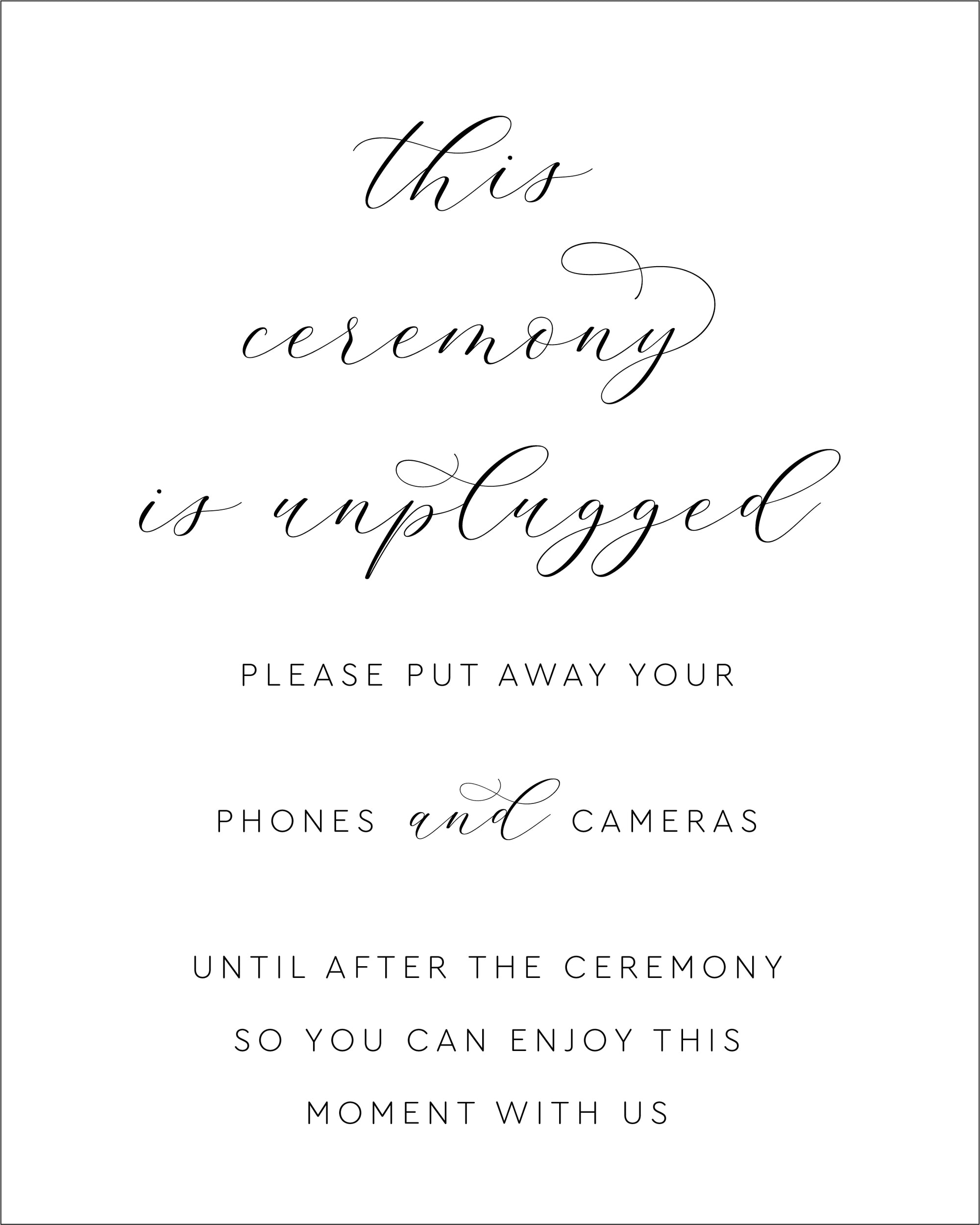 An Elegant No Devices Wedding Sign | The Amelia