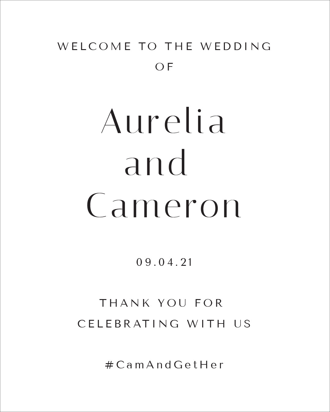 Simple Wedding Welcome Sign | The Aurelia