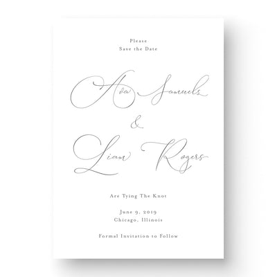 classic save the date cards with traditional calligraphy