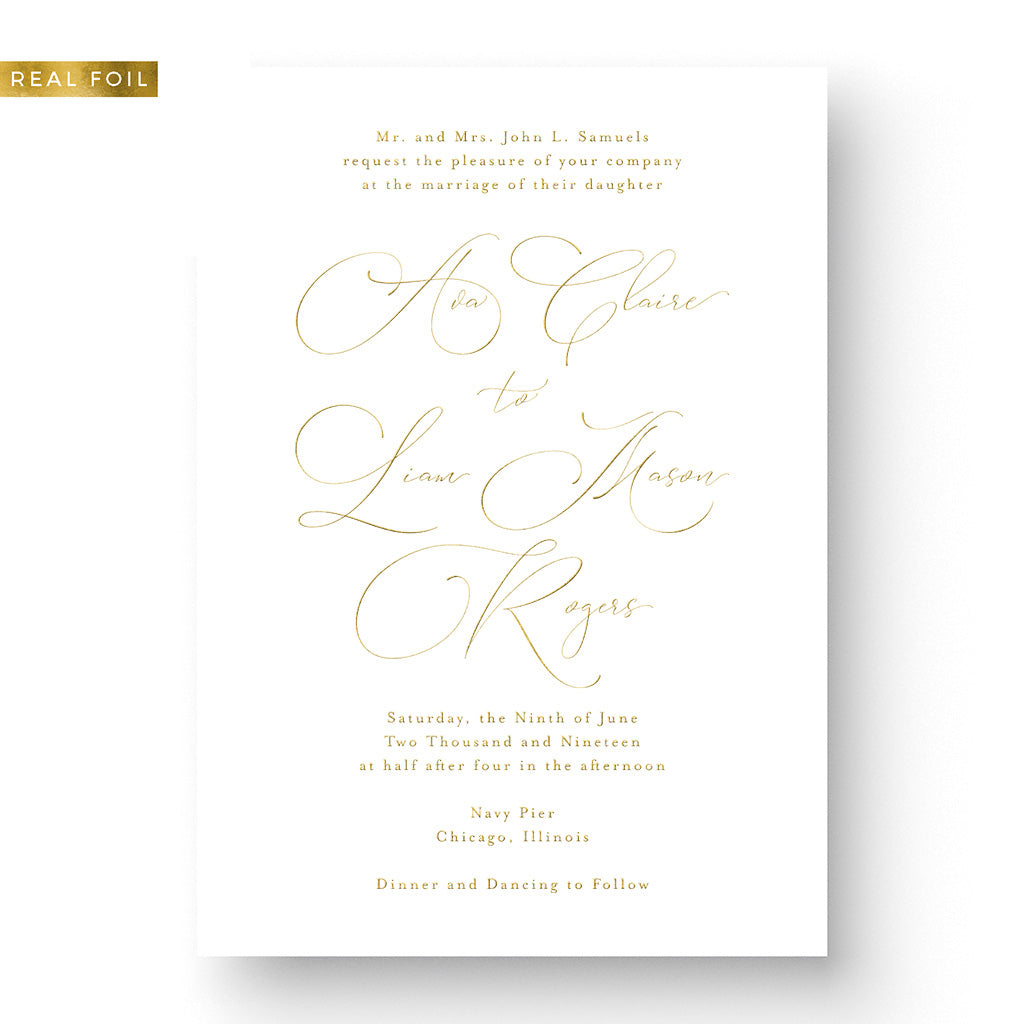 Classic Calligraphy Wedding Invitation Gold Foil Stamped