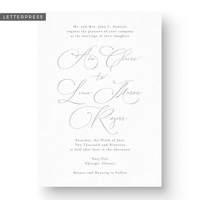Ava Letterpress Wedding Invitation
