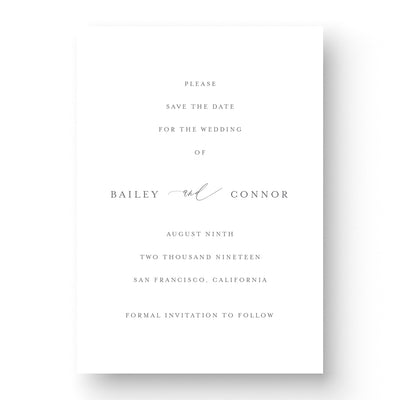 Elegant Save the Date Card The Bailey Lily & Roe Co