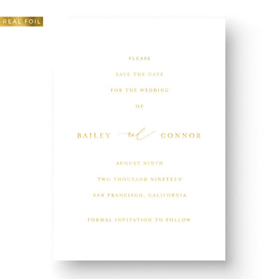 elegant gold foil save the date card classic