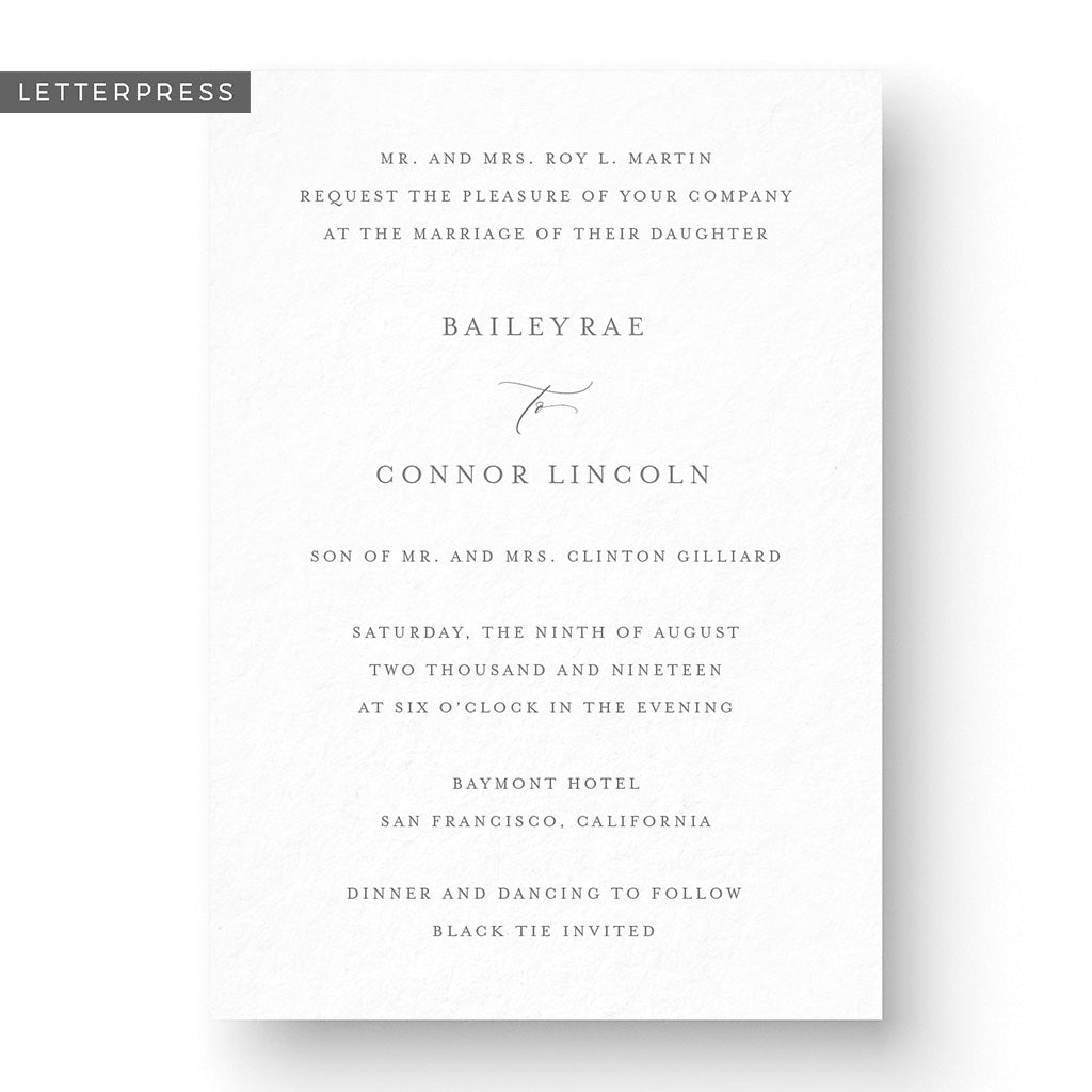 Bailey Letterpress Wedding Invitation