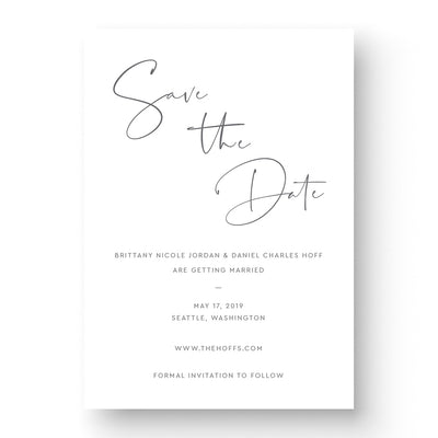 Modern save the date Card with handwritten script font