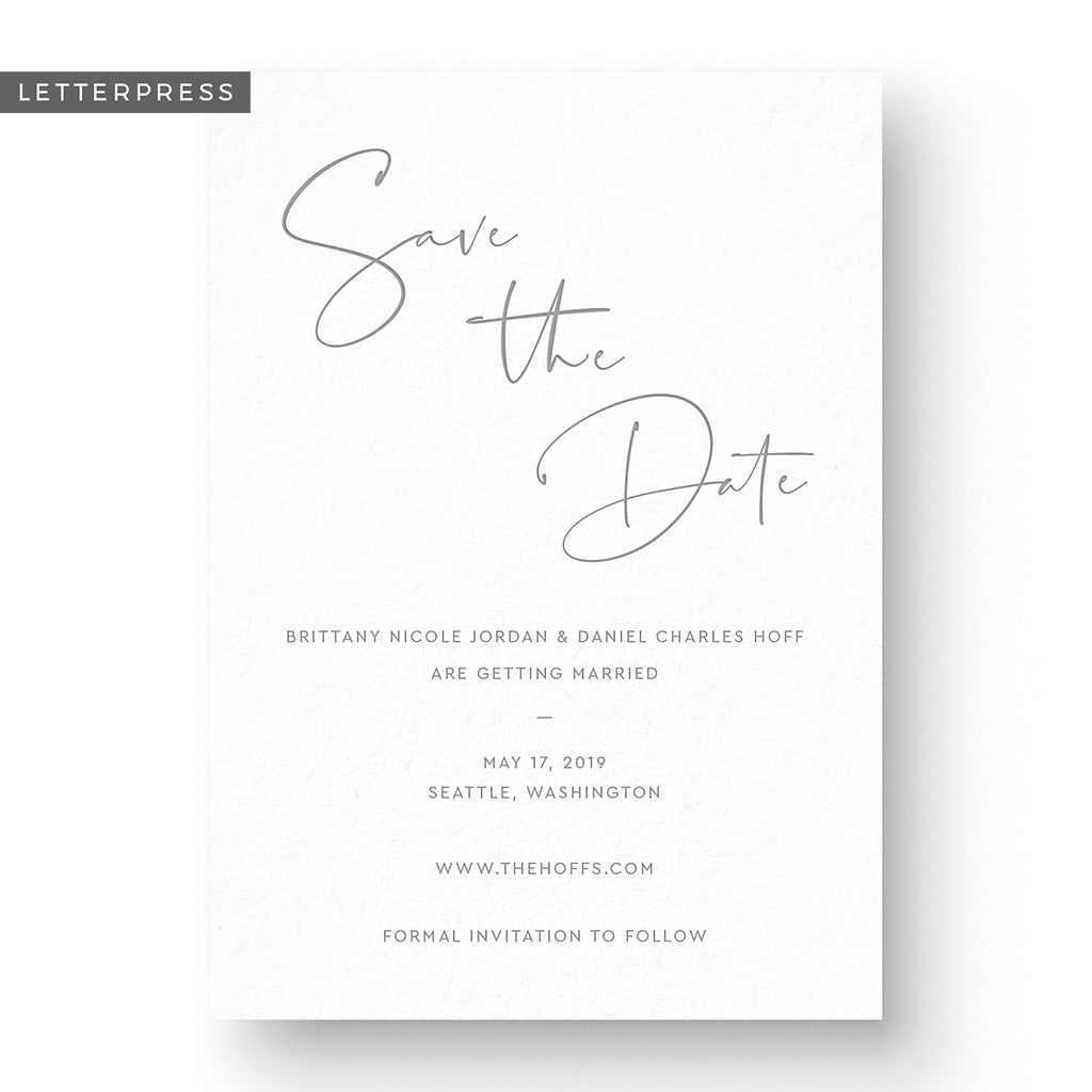 modern letterpress save the date card