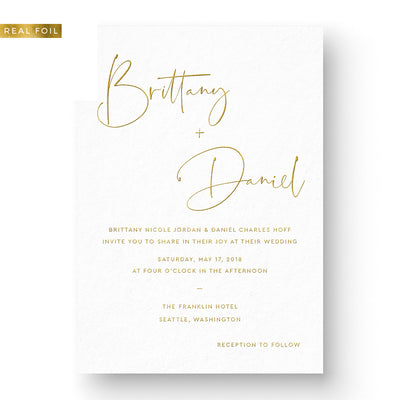 Modern Wedding Invitation Gold Foil