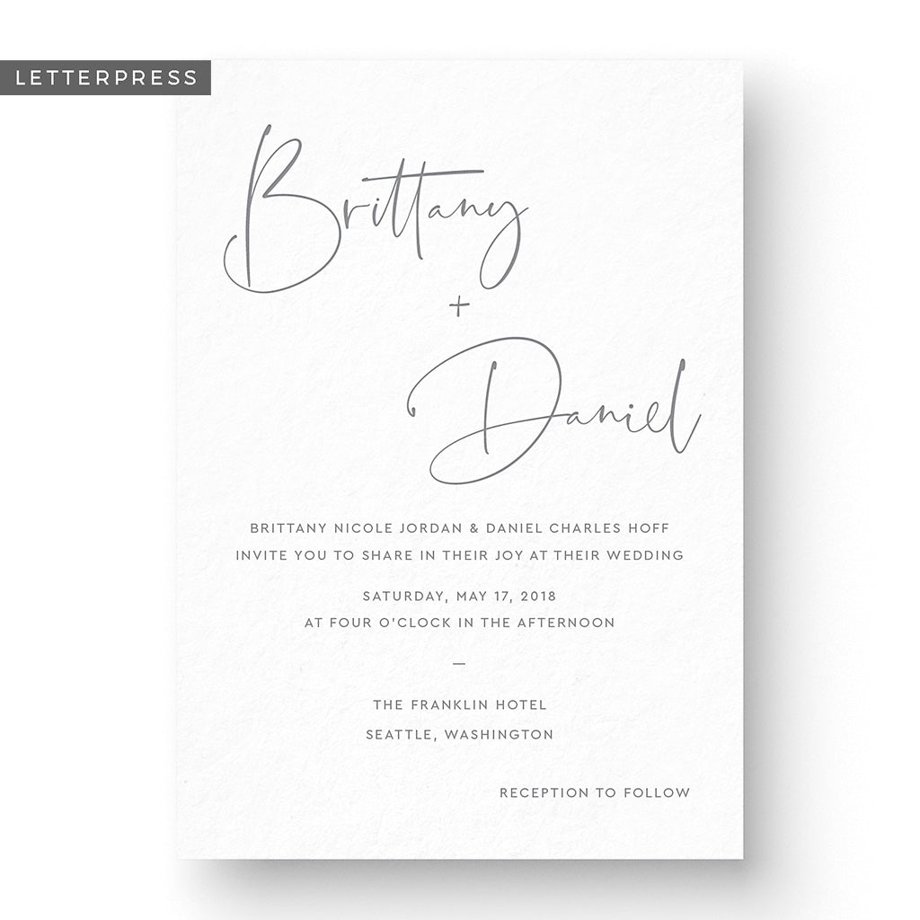 Brittany Letterpress Wedding Invitation