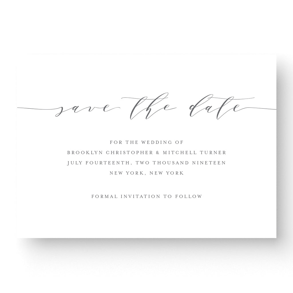 calligraphy save the date card on white stock
