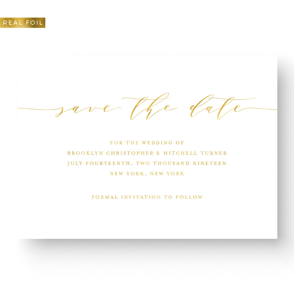 Gold Foil Calligraphy Save the Date Card