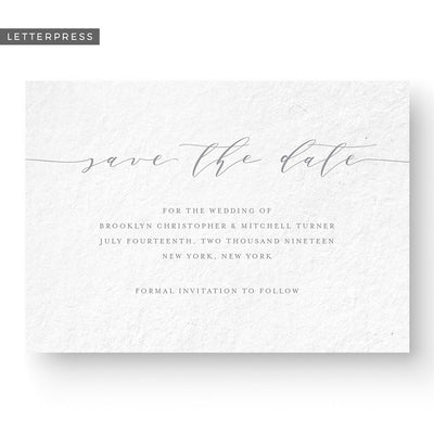 classic calligraphy letterpress save the date