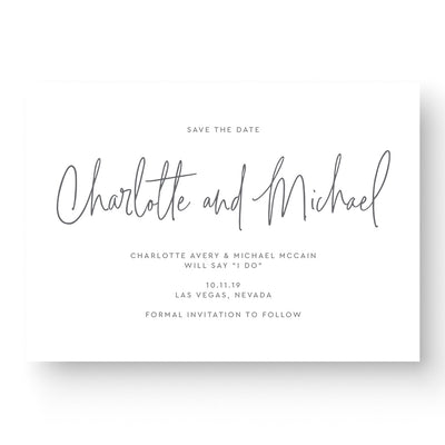 modern-calligraphy wedding save the date card