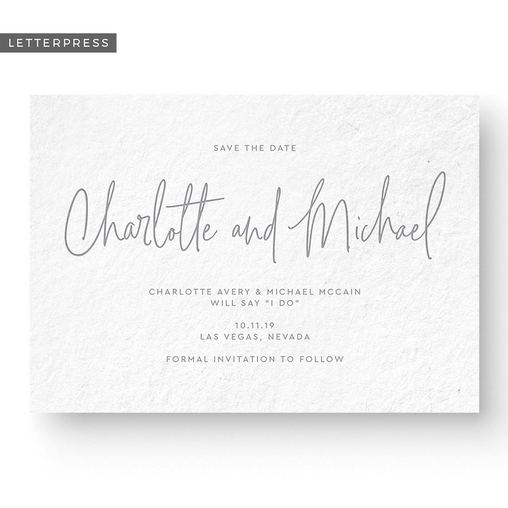 simple modern letterpress save the date