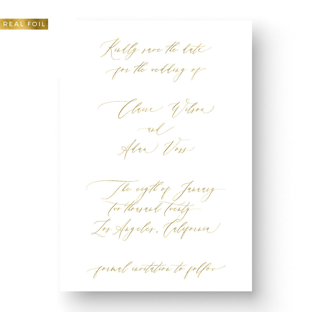 Romantic Gold Foil Save the Date Card with calligraphy