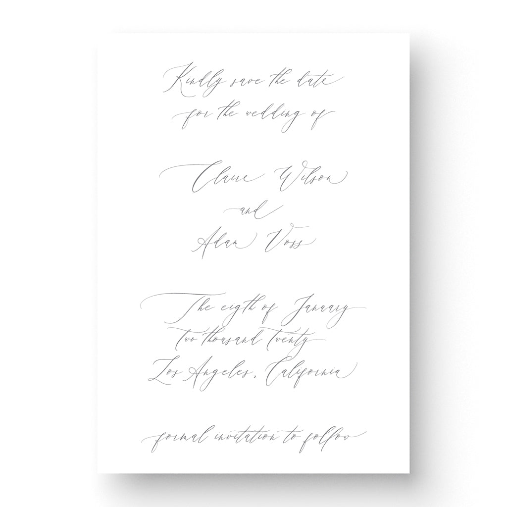 romantic save the date card with calligraphy script on white stock