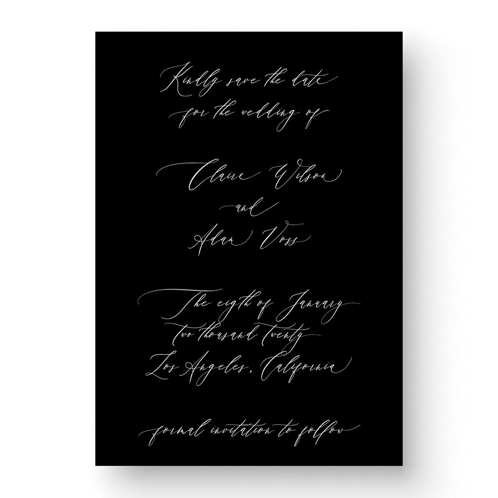 Romantic White Ink Save the Date Card Calligraphy