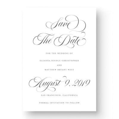 Classic save the date card with calligraphy script on white stock