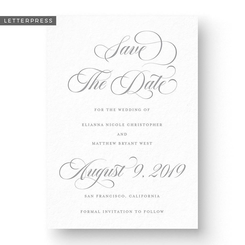 formal traditional script save the date