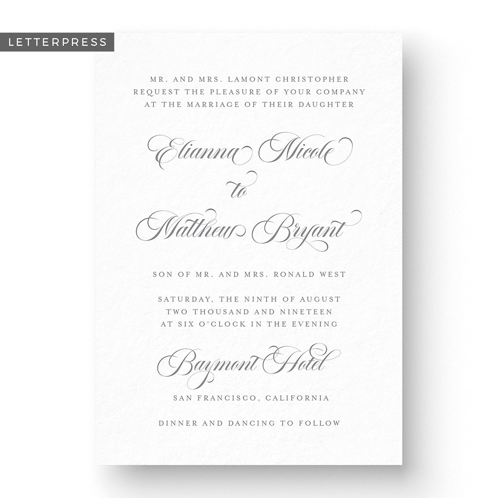 Elianna Letterpress Wedding Invitation
