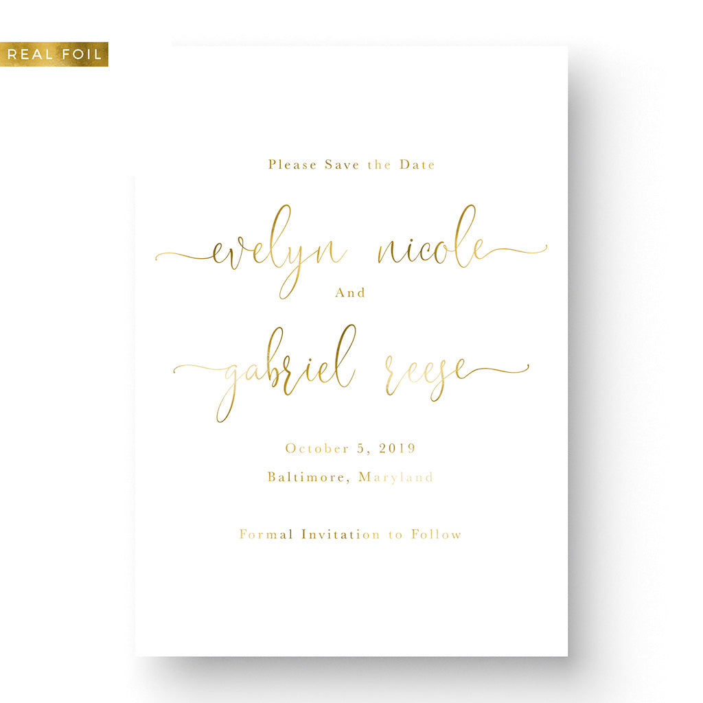 gold foil save the date with script font