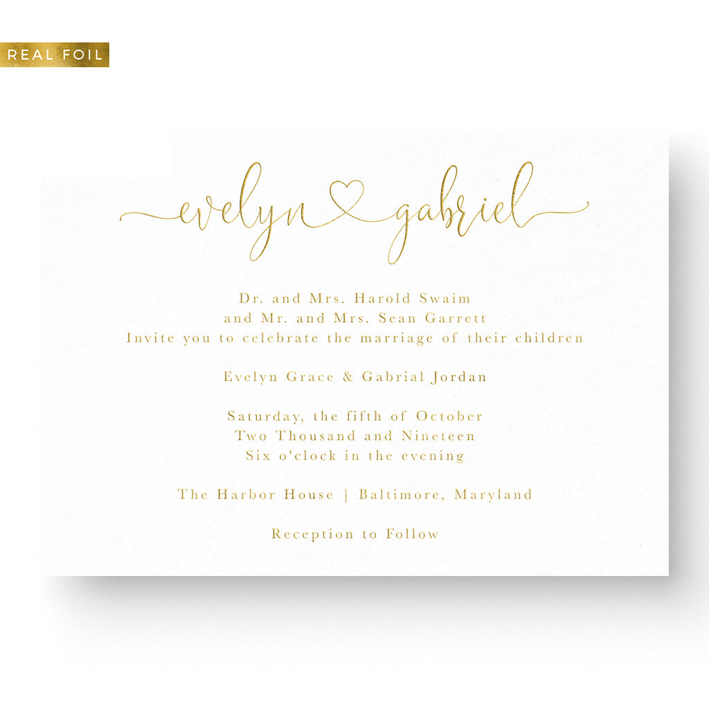 romantic script foil wedding invitation