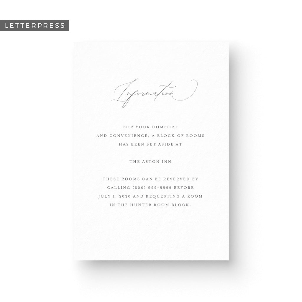 Grace Letterpress Details Card