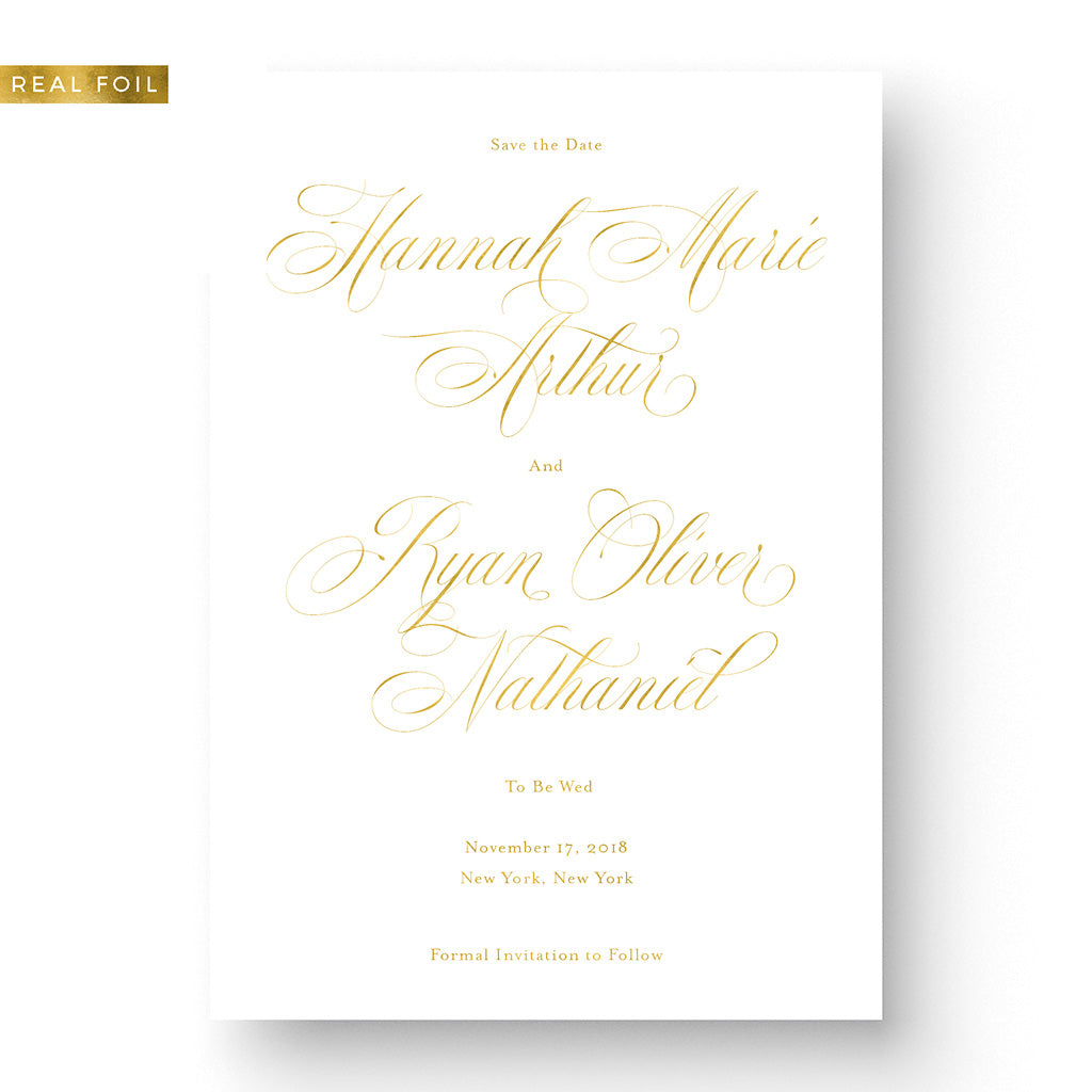 Formal Save the Date with Gold Foil