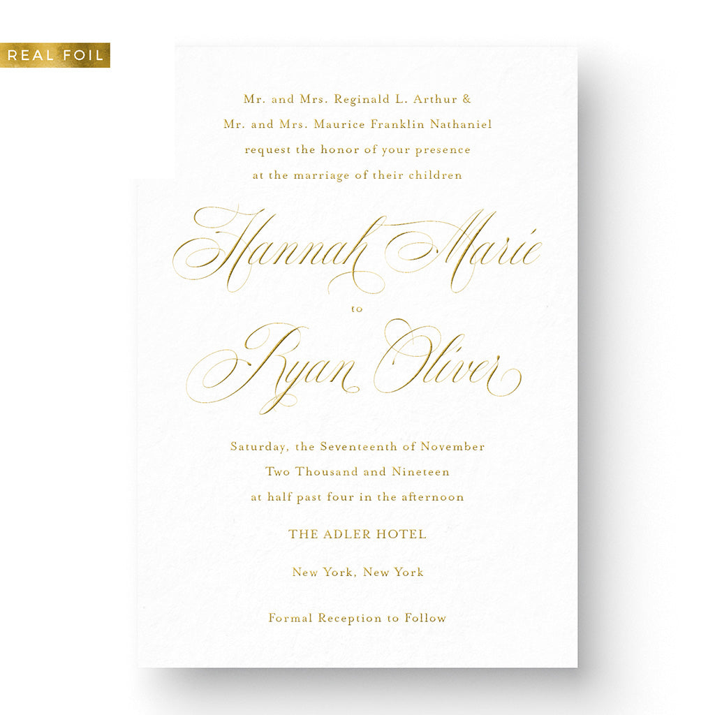 wedding invitations gold foil calligraphy elegant classic timeless