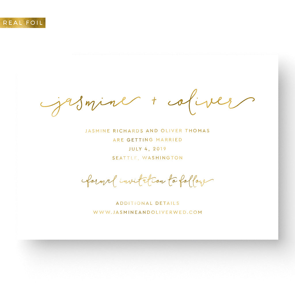 boho gold foil save the date card boho