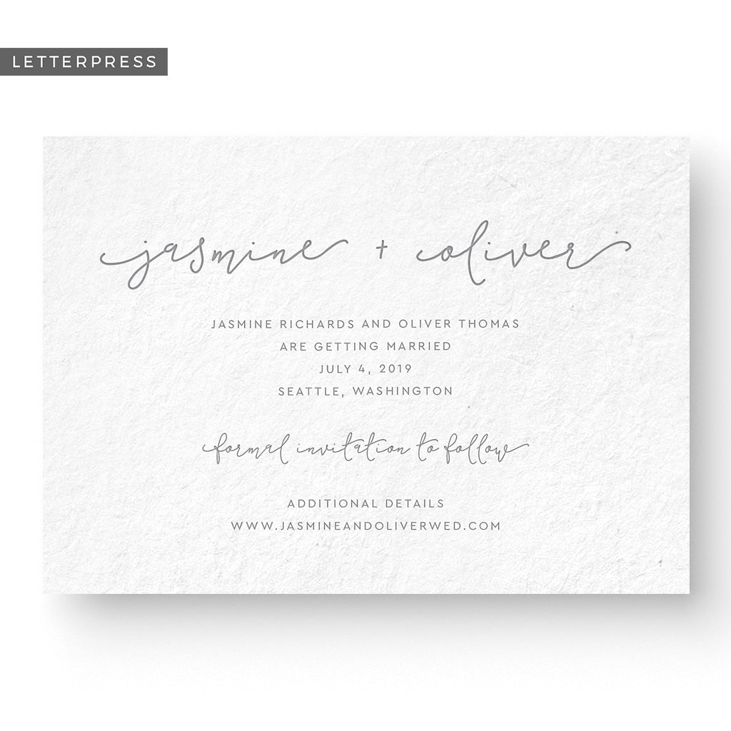 boho letterpress save the date card
