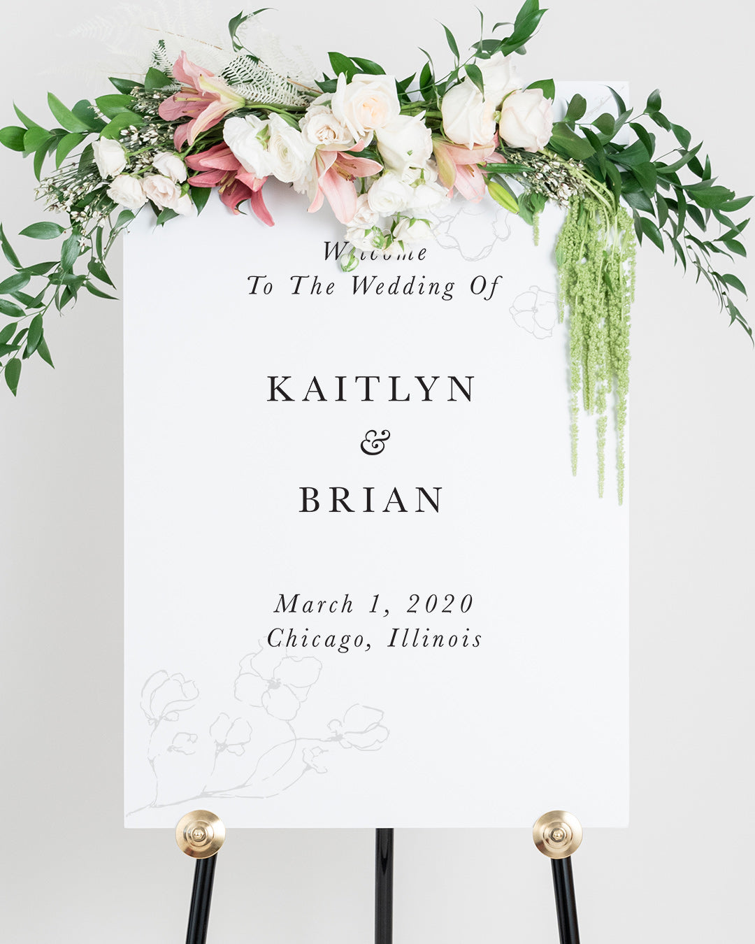 Wedding Welcome Sign With Flowers | The Kaitlyn